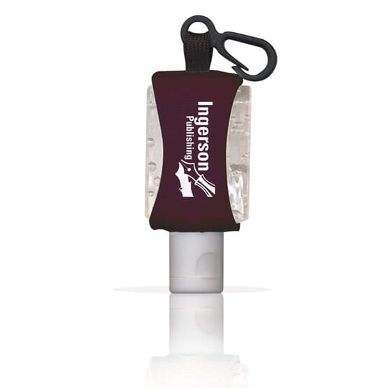 Travel hand sanitizer with carabiner