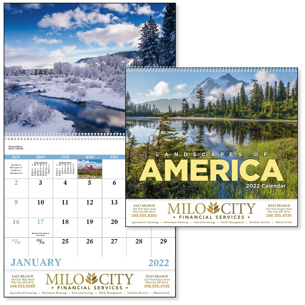 wall calendar with american landscapes
