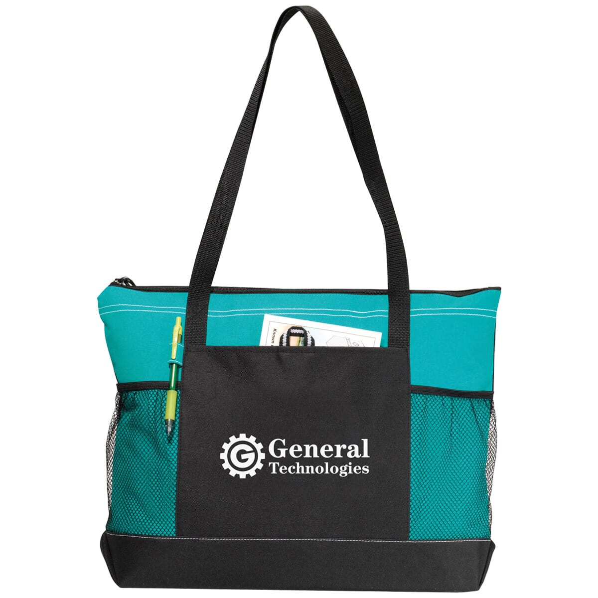 Turquoise and black tote bag with mesh pockets
