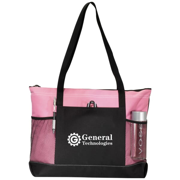 100 Peony Pink Conference Tote 1 Color Imprint
