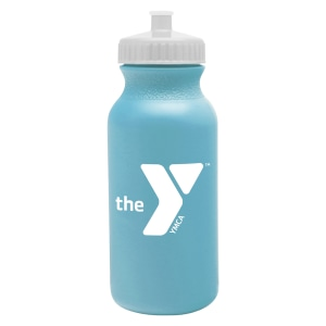 Sky blue plastic water bottle with white logo and white lid