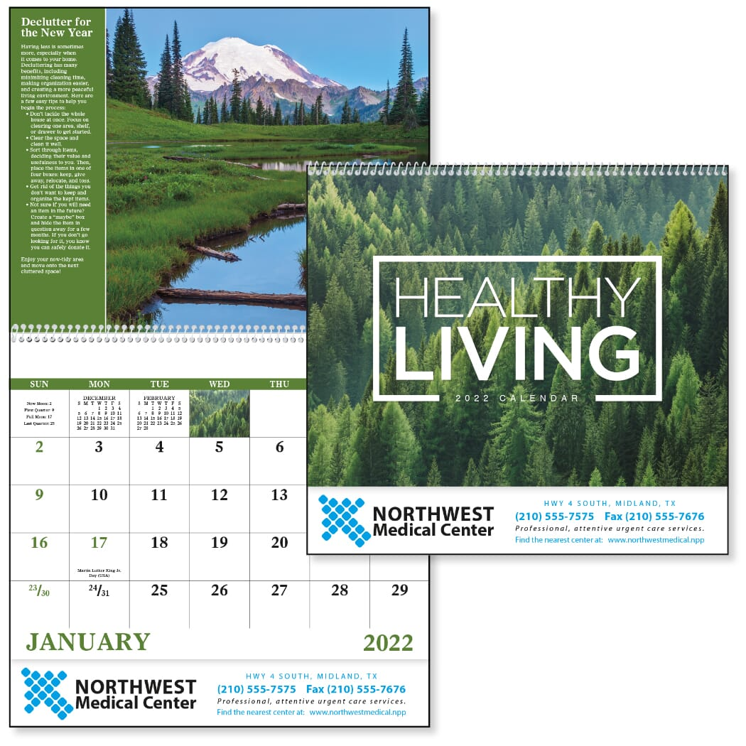 Calendar with healthy living tips