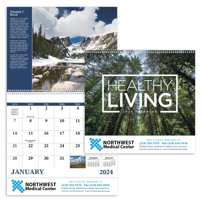 wall calendar with wellness tips
