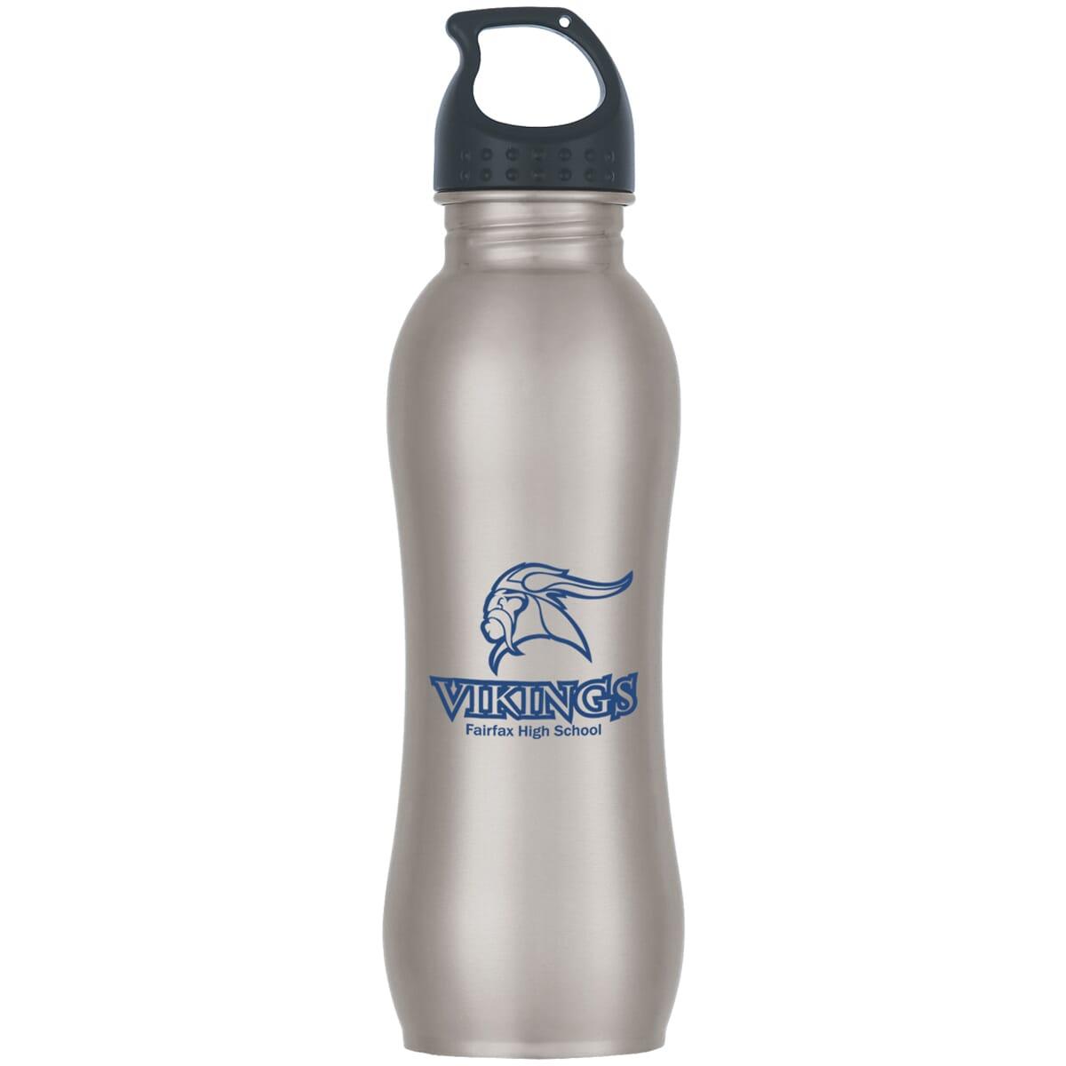 Stainless steel water bottle with school logo