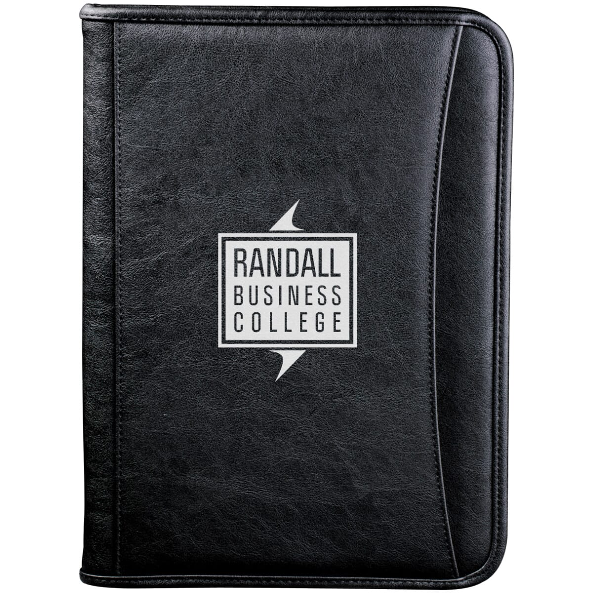Faux leather padfolio with business logo