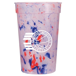 Red, white and blue splatter pattern plastic cup with white logo