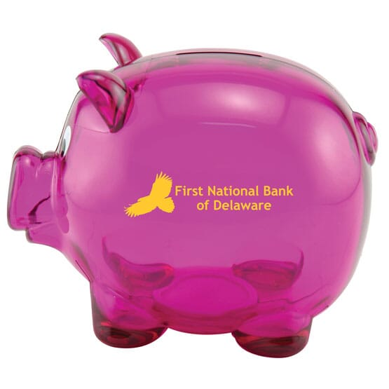 Piggy bank with logo