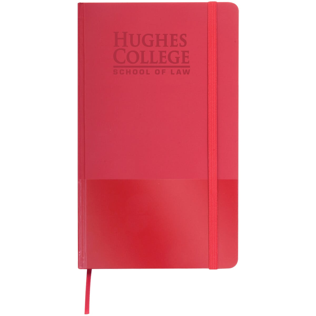 Red notepad with elastic closure and built in bookmark
