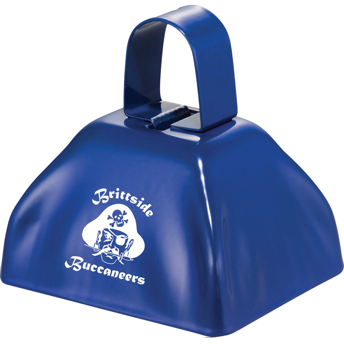 Royal blue cowbell with school logo and mascot