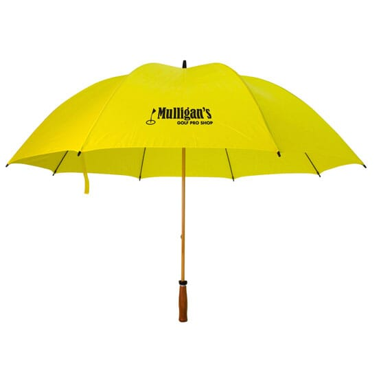Yellow golf umbrella with logo