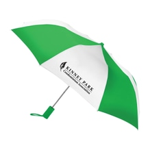 Green and white umbrella