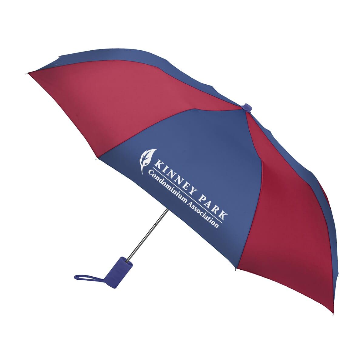 Striped umbrella with logo