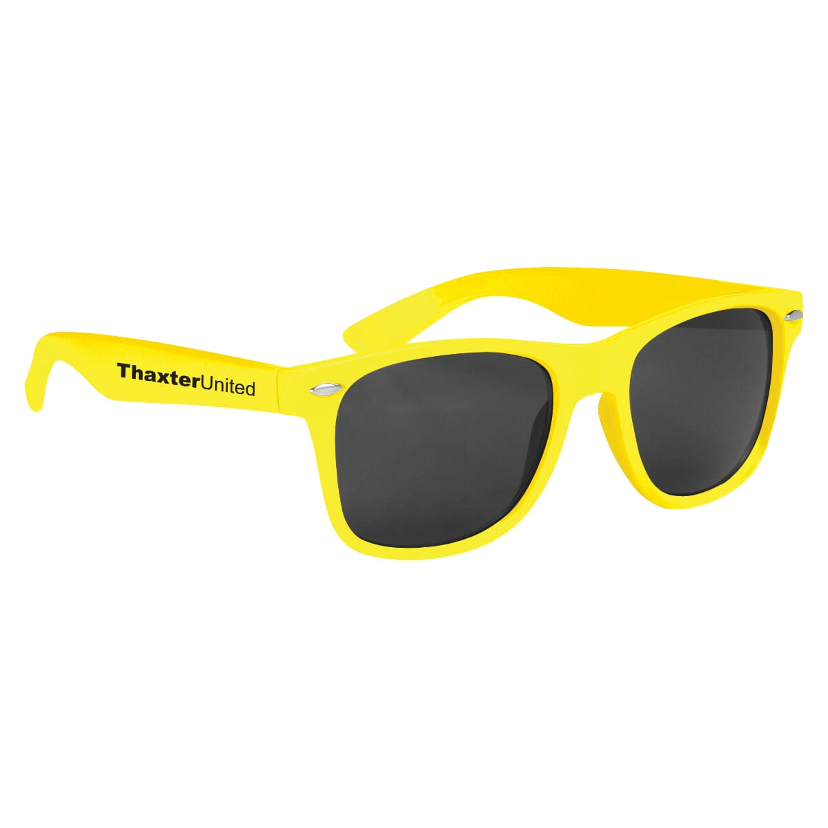 Yellow retro style sunglasses with logo