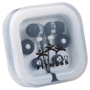 Black earbuds in travel case