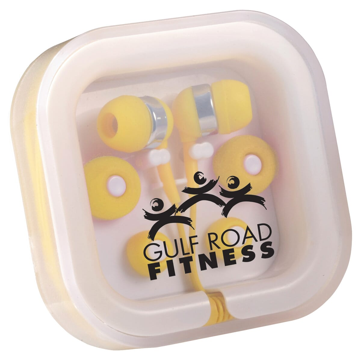 Yellow earbuds in customized case