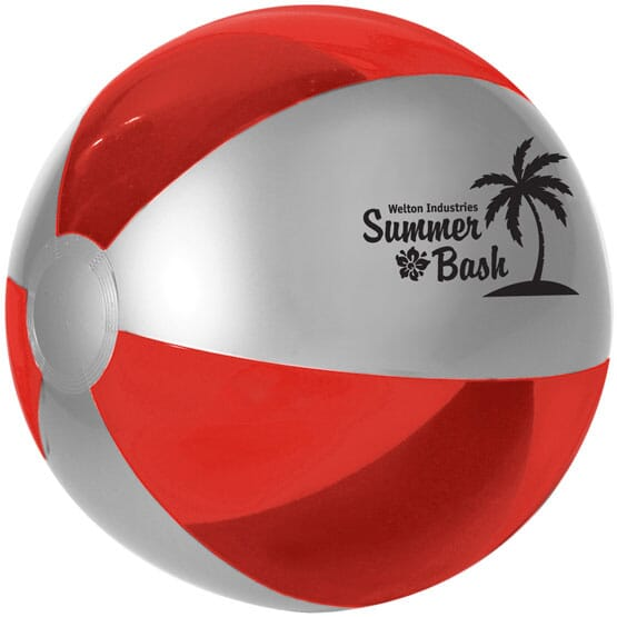 Silver and red beach ball