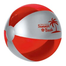 Red and silver beach ball
