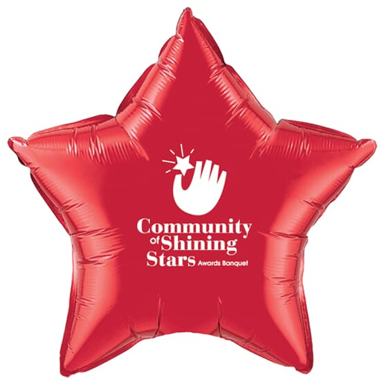 Red foil star-shaped balloon with white logo.