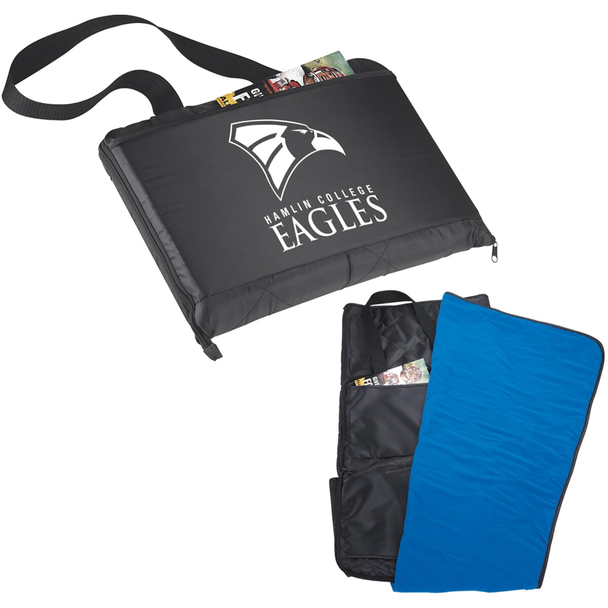 Black and blue blanket bag with school logo
