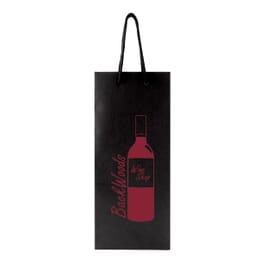 Black wine tote with embossed imprint