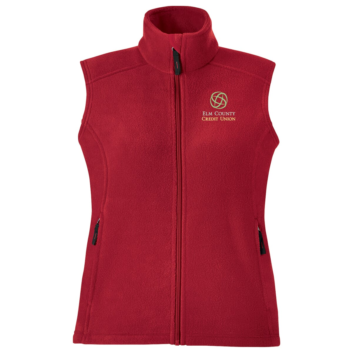 Red Fleece Vest with Embroidered Logo