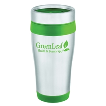 Silver and green insulated tumbler