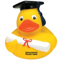 Yellow rubber ducky with graduation cap