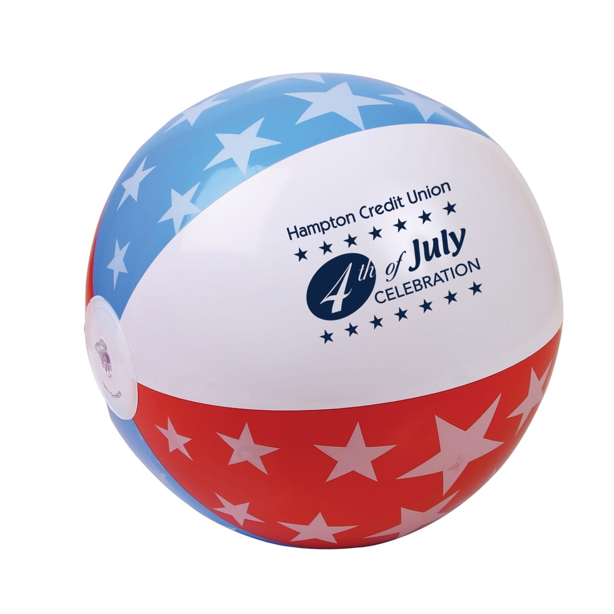 Red, white and blue beach ball with star print and a dark blue logo.