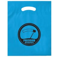 Bright blue plastic giveaway bag