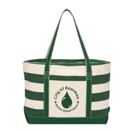 Striped green and natural tote bag