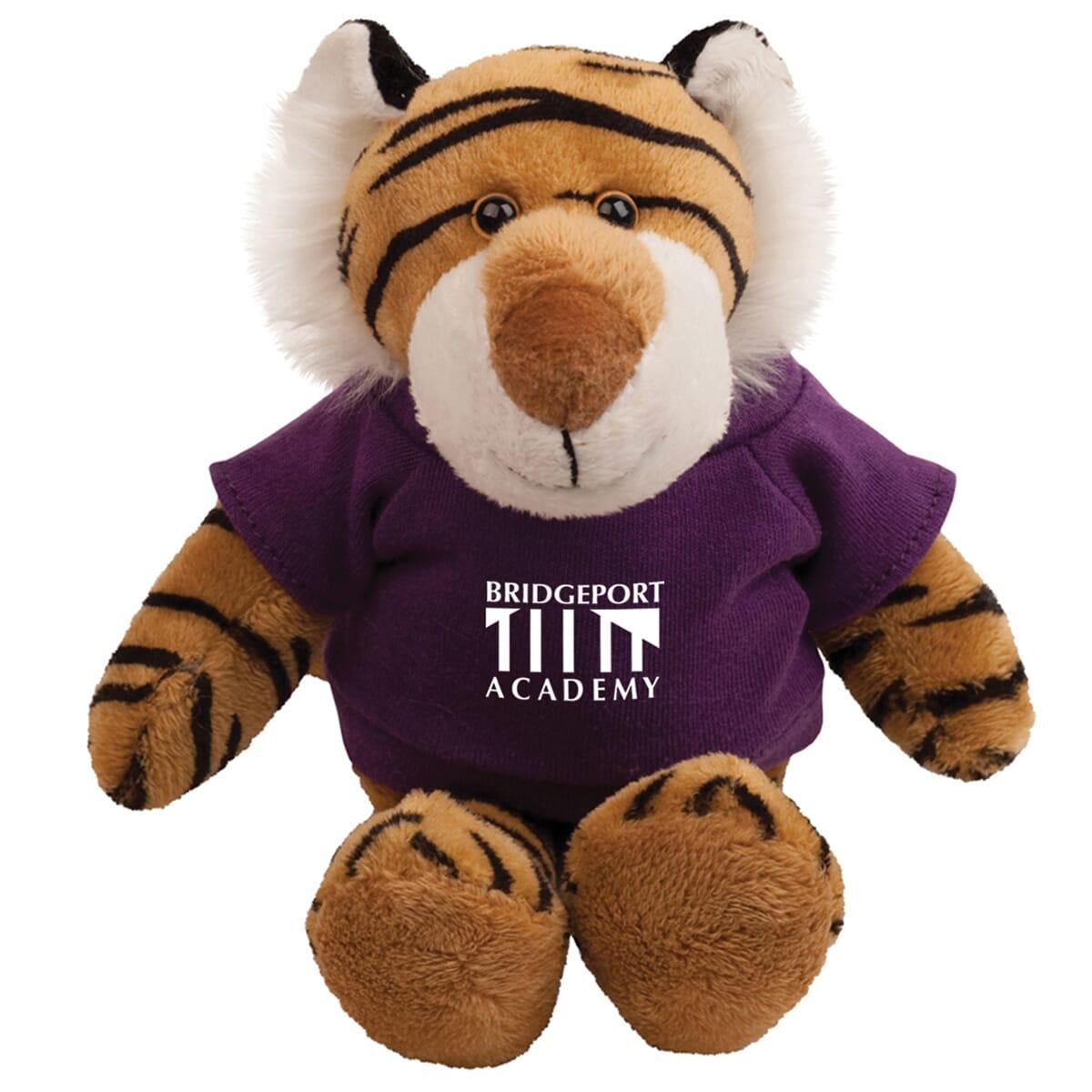 Tiger mascot stuffed animal with purple t-shirt