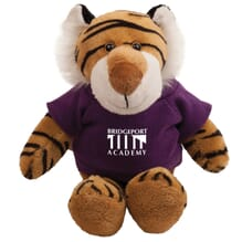 Tiger mascot stuffed animal with purple t-shirt