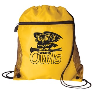Yellow drawstring backpack with zipper and black logo
