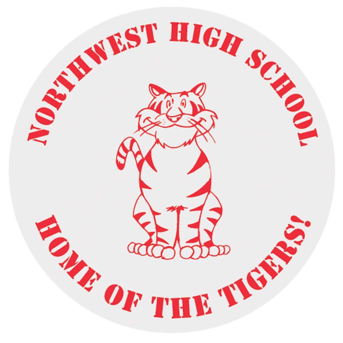 Red and white school spirit sticker