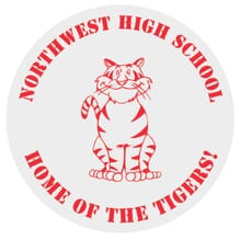 Red and white school spirit sticker