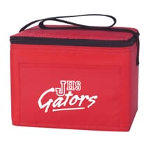 Red and black lunch cooler with school logo