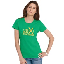 Green women's t-shirt with company team building logo