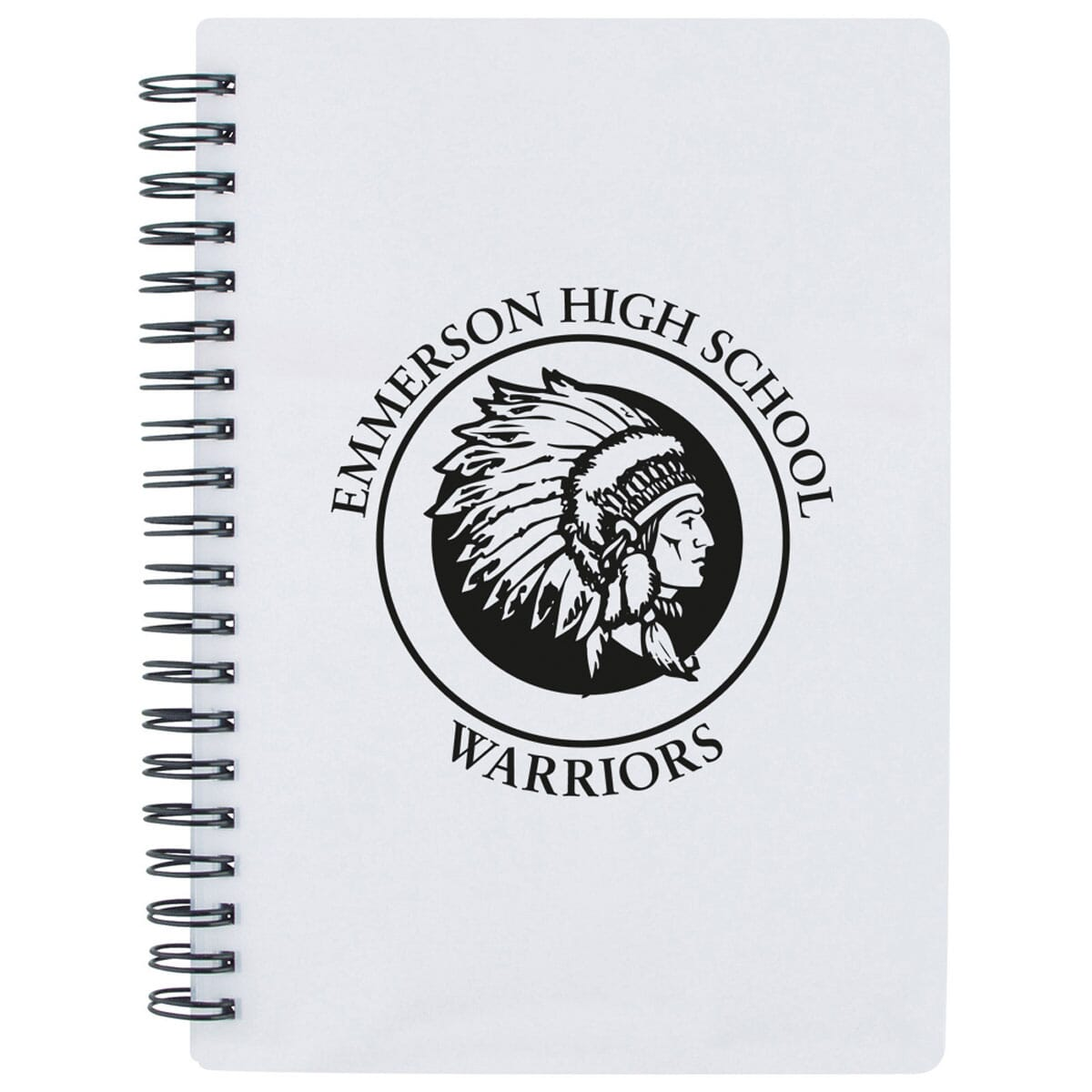 White spiral bound notebook with pencil pouch