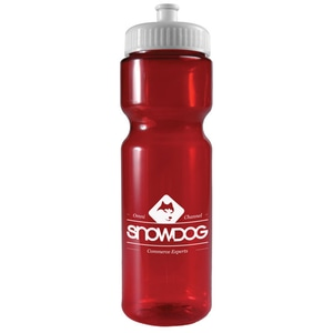 Red plastic translucent water bottle with white lid and white logo
