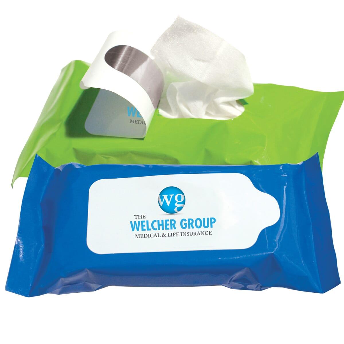 Travel antibacterial wipes packages