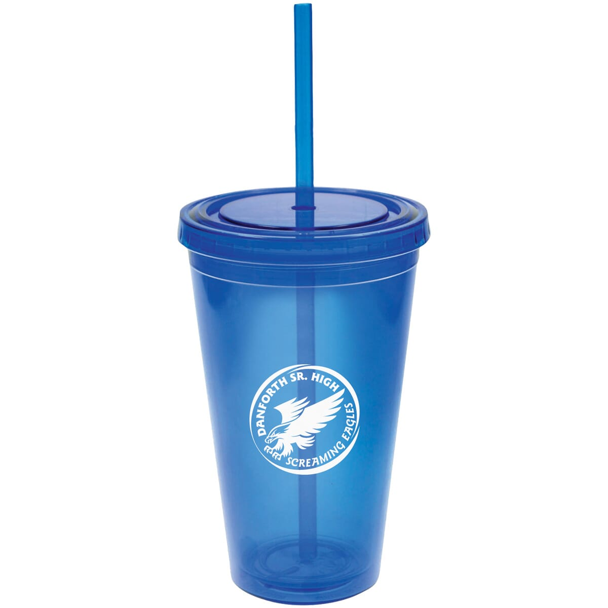 Travel cup with straw