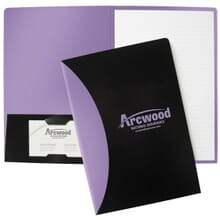 Purple and black padfolio with purple logo