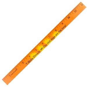 Orange and yellow ruler with black markings and logo