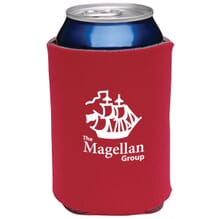 Custom red koozie with company logo