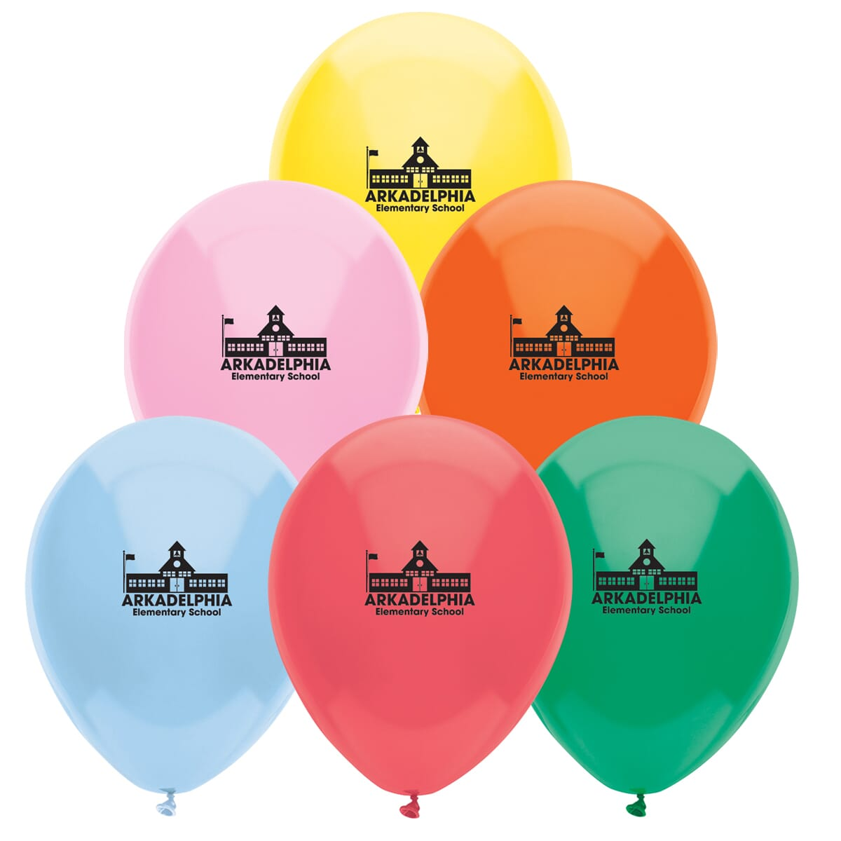 Group of colorful balloons with school logo