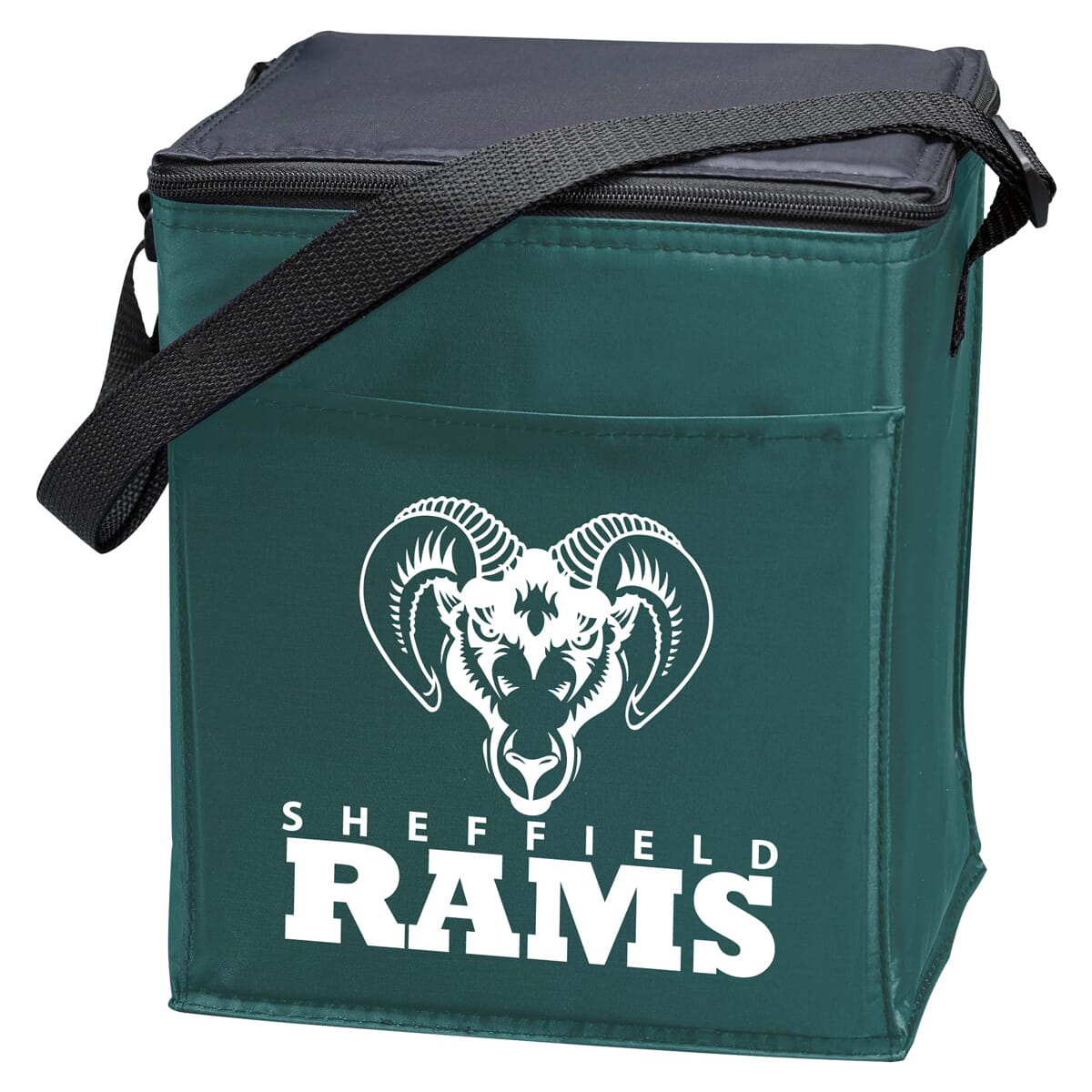 Black and forest green lunch cooler with school logo