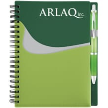 Spiral bound notebook with pocket and logo on cover