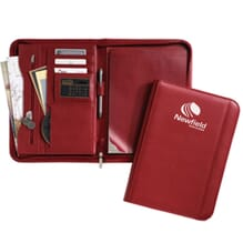 Red faux leather padfolio with white logo