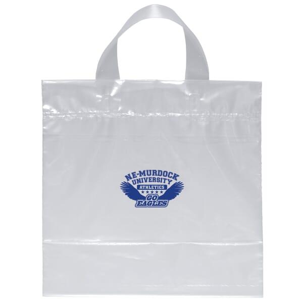 "12"" x 12"" x 6"" Clear Plastic Bag - Soft Loop Handle"