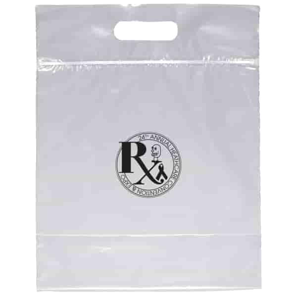 "12"" x 12"" x 6"" Clear Plastic Bag - Die Cut Zip Close Handle"